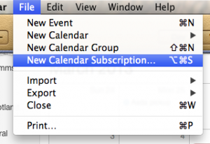 Apple Calendar, choose File menu then New Calendar Subscription...